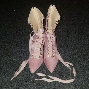 DiJiGirls Shoes - 4 inch faux suade heeled pink gladiator booties